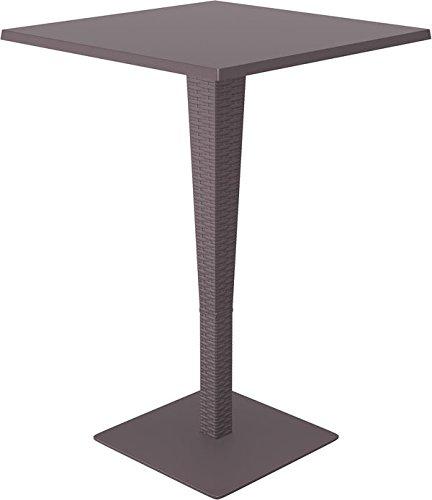 CLP Outdoor-Stehtisch RIVA aus Polyrattan | Wetterfester Gartentisch aus UV-beständigem Kunststoffgeflecht | Stehtisch mit eckiger Tischplatte | In verschiedenen Farben erhältlich