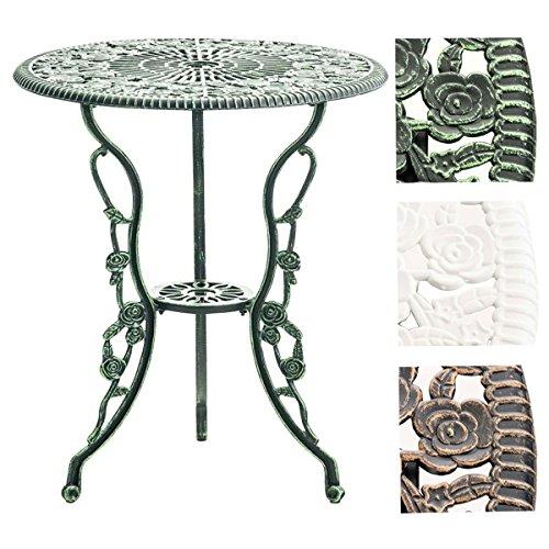 CLP Tisch SHARMA, Gartentisch rund Durchmesser Ø 60 cm, Höhe 68 cm, Metall, Eisentisch, nostalgisches Design, handgefertigt,