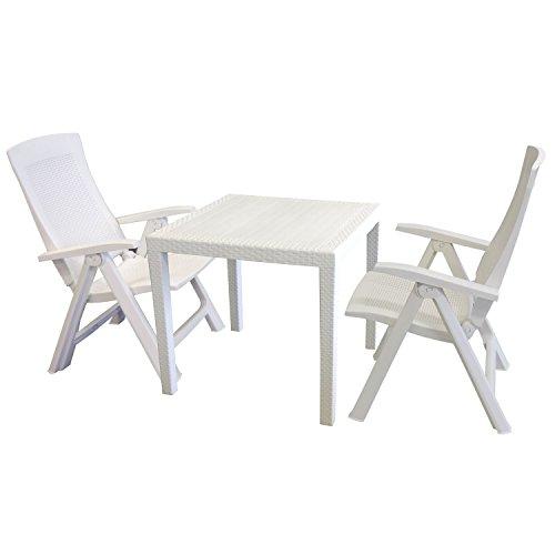 Multistore 2002 3tlg. Gartengarnitur Gartentisch, Kunststoff Weiß, Rattan-Look, 79x79cm + 2x Klappsessel, Kunststoff, Weiß, 5-fach verstellbar