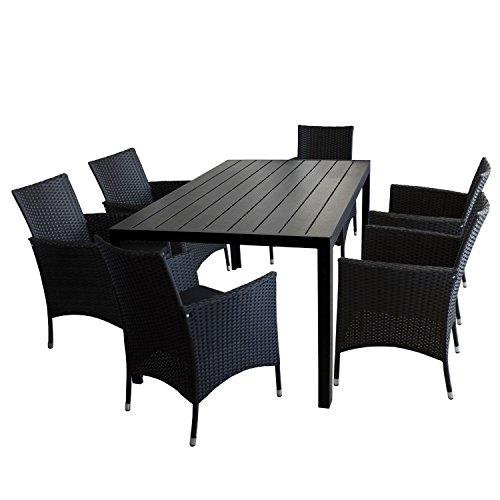 Multistore 2002 7tlg. Gartengarnitur Gartentisch, Aluminiumrahmen, Polywood Tischplatte, 150x90cm + 6x Rattansessel, Polyrattan Schwarz, inkl. Sitzkissen