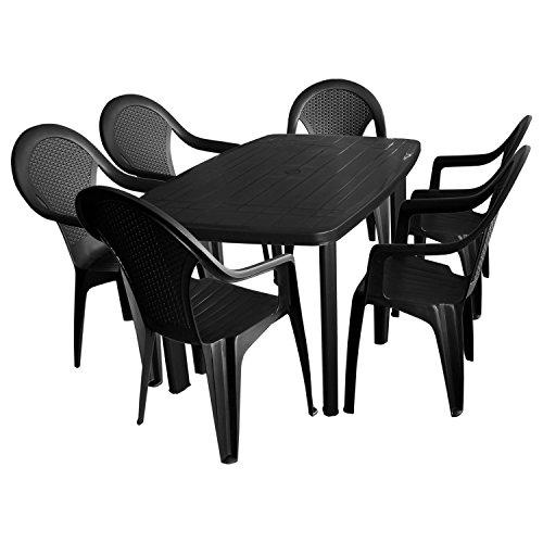 Multistore 2002 7tlg. Sitzgruppe Gartengarnitur Terrassenmöbel Gartenmöbel Campingmöbel Set - Gartentisch, 138x87cm + 6x Stapelstuhl, Rattan-Look - Kunststoff