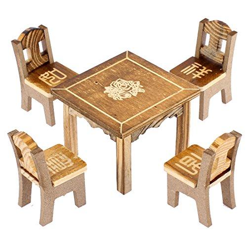 sourcingmap® Tisch Stuhl Set Holz Dekoration Puppenhaus Gartenmöbel Deko für Haus Büro