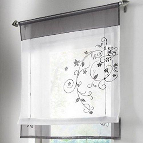 Souarts Grau Stickblume Gardine Raffgardinen Vorhang Raffrollo Schlaufenschal Deko für Wohnzimmer Schlafzimmer Studierzimmer 100*140cm