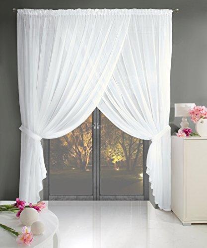Gardine Kräuselband 400x250 cm Pola weiß Wohnzimmer Transparent Weich fallendes Material