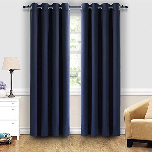SHARABLE Vorhang blickdicht Verdunklungsvorhänge Blickdichter Verdunkeln Vorhang Gardinen Schlaufschal mit Ösen bei Wohnzimmer Schlafzimmer, 2 Stück(Navyblau, 135x215cm)