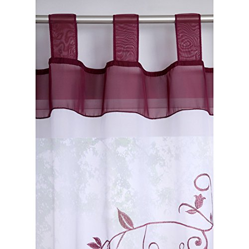 Souarts Lila Stickerei Transparent Gardine Vorhang Schlaufenschal Deko für Wohnzimmer Schlafzimmer Studierzimmer 140cmx225cm Nur Ein Schlaufenschal