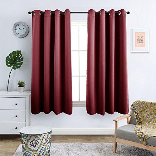 TOPICK Vorhänge Blickdicht Gardine Wohnzimmer mit Ösen,Rot,145 x 130 cm(H x B), 2er-Set
