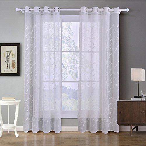 GWELL Weiß Transparent Gardinen Ösenschal Vorhang mit Ösen Dekoschal für Wohnzimmer Schlafzimmer 1er-Pack Muster-A 220x140cm(HxB)