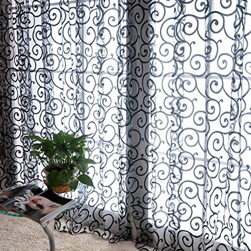 Wingogo Flocked Voile Tür Fenster Vorhang Balkon Sheer Panel Bildschirm Vorhänge Tür Fenster Dekor