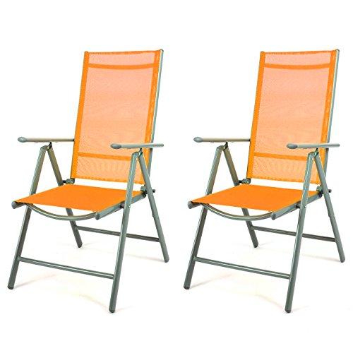 Nexos 2er Set Klappstuhl Gartenstuhl Campingstuhl Liegestuhl – Sitzmöbel Garten Terrasse Balkon – klappbarer Stuhl aus Aluminium & Kunststoff - orange