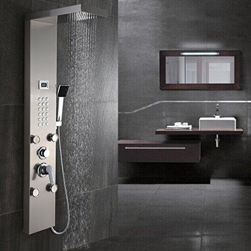 Retro Bronze Duschsystem Duscharmatur mit Höhenverstellbar Duschstange 80~120 cm, Überkopfbrause(20x20cm), Schlauch(150cm) Duschgarnitur Regendusche Shower Set