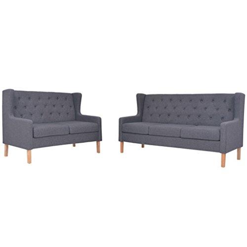 vidaXL Sofa Set 2-tlg. 2+3-Sitzer Stoff Grau Sofagarnitur Couch Polstersofa