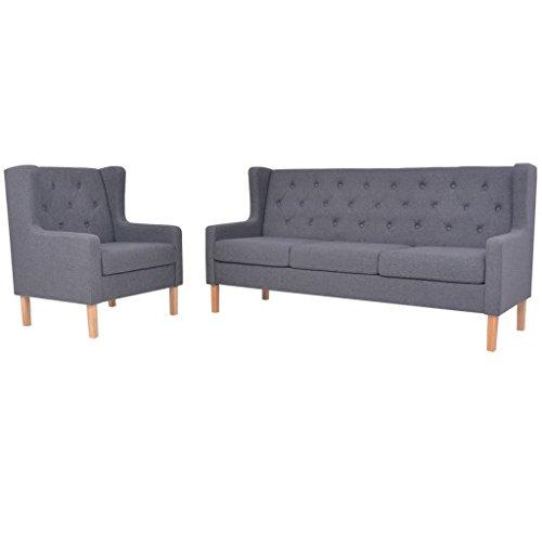 vidaXL Sofa Set 2-tlg. 3-Sitzer Stoff Grau Sofagarnitur Couch Polstersofa