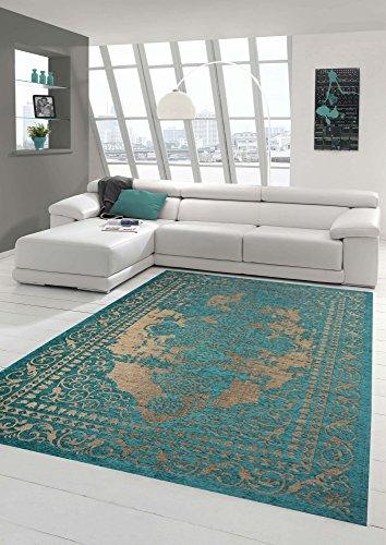 Moderner Teppich Designer Teppich Orientteppich Wohnzimmer Teppich mit Bordüre in Türkis Beige