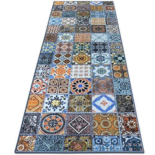 casa pura Teppichläufer Bonita | Patchwork Muster im Vintage Look | Viele Größen | Moderner Teppich Läufer für Flur, Küche, Schlafzimmer | Niederflor Flurläufer, Küchenläufer