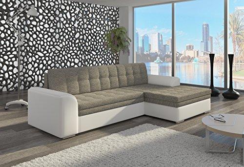Couch Couchgarnitur Sofa Polsterecke CF01 Ottomane rechts, Soft 17/ Berlin 01 (die Ottomane kann schriftlich kostenlos auf die andere Seite geändert werden) Wohnlandschaft Schlaffunktion