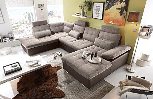 """Couch """"Jakarta"""" Wohnlandschaft Sofa Lederlook Schlaffunktion Schlafsofa braun grau Ottomane links 324 cm"""