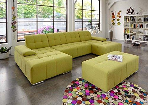 Dreams4Home Polstergarnitur 'Retro I', U Form, Sofa, Wohnlandschaft, Wohnzimmer, gelb, Couch, Hocker:ohne Hocker