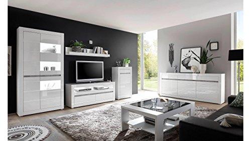 JUSTyou Edelstein Wohnzimmerset Wohnwand Wohnzimmermöbel Weiß Matt | Weiß Hochglanz