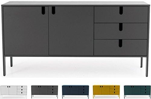 Tenzo UNO 8555-014 Designer Sideboard 2 Türen, 3 Schubladen Lackiert, MDF + Spanplatten, matt Soft-Close Funktion, Grau, 86 x 171 x 46 cm (HxBxT)