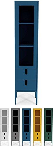 Tenzo UNO 8566-023 Designer Vitrine 1 Tür, 2 Schubladen Lackiert, MDF + Spanplatten, matt Soft-Close Funktion, Petrol Blau, 178 x 40 x 40 cm (HxBxT)