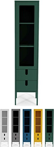 Tenzo UNO 8566-031 Designer Vitrine 1 Tür, 2 Schubladen Lackiert, MDF + Spanplatten, matt Soft-Close Funktion, Forest Grün, 178 x 40 x 40 cm (HxBxT)