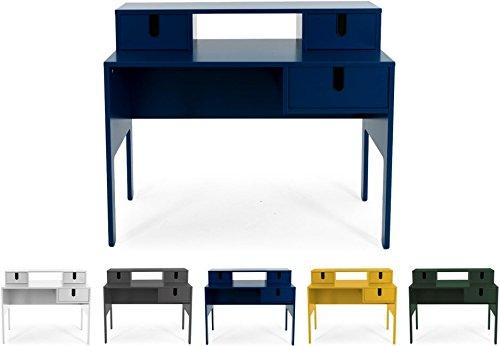 Tenzo UNO 8573-023 Designer Sekretär 3 Schubladen Lackiert, MDF + Spanplatten, matt Soft-Close Funktion, Petrol Blau, 92 x 105 x 50 cm (HxBxT)