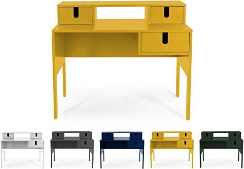 Tenzo UNO 8573-029 Designer Sekretär 3 Schubladen Lackiert, MDF + Spanplatten, matt Soft-Close Funktion, Senf, 92 x 105 x 50 cm (HxBxT)