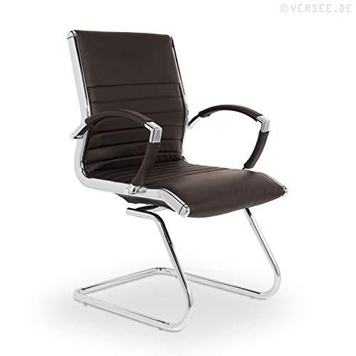 VERSEE Design Besucherstuhl Montreal -- Echt-Leder -- braun -- Konferenzstuhl, Freischwinger, Schwingstuhl, Meetingstuhl, Besprechungsstuhl, Bürodstuhl, mit Armlehnen, Ergonomisch, massives Metall-gestell in Chrom, niedrige Rückenlehne, Designklassiker, hochwertige Verarbeitung, Büro Sessel, 150 kg belastbarkeit