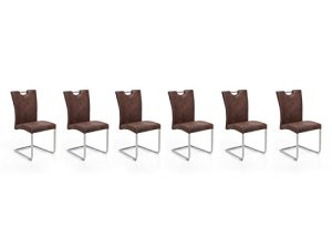 Woodkings 6X Schwingstuhl Reefton, Freischwinger Stoff braun, Vintage Optik, Esszimmerstuhl, modern, Edelstahloptik, Stuhl mit Griff, Designstuhl, Metallstuhl, Küchenstuhl, 6er Set