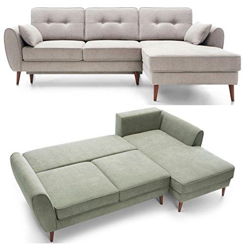Moebella Ecksofa mit Schlaffunktion und Bettkasten Mores Skandinavisches Designer Schlafcouch Sofa Bettfunktion