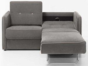 Moebella Schlafsofa Merina Grau Blau Weiß Mikrofaser Stoff Sofa Couch Schlafcouch mit Federkern Bettfunktion