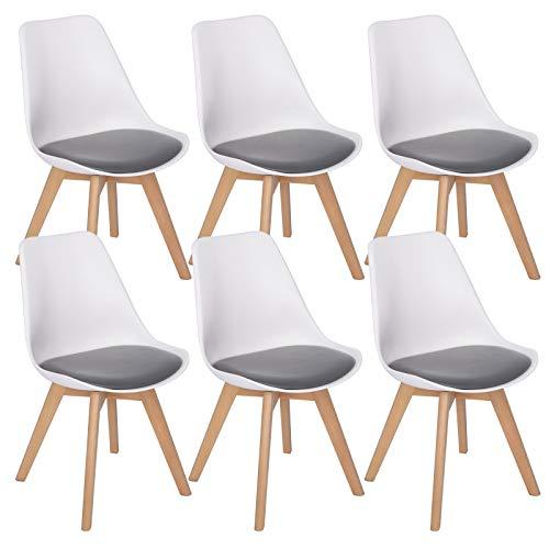 WOLTU 6er Set Esszimmerstühle Küchenstuhl Design Stuhl Esszimmerstuhl Kunstleder Holz 2 farbig Weiß + Grau BH97wgr-6