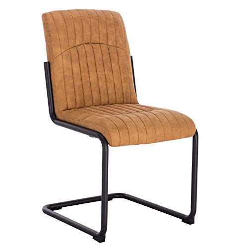WOLTU® Schwingerstuhl #1204 1 Stück Freischwinger Stuhl Esszimmerstühle Küchenstuhl Polsterstuhl Stoff Metallgestell