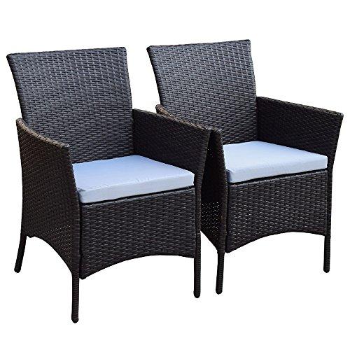2er Set Polyrattan Rattan Stühle Stuhl Gartenstuhl Sessel Garten SJ-07