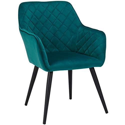 Duhome Esszimmerstuhl aus Stoff (Samt) Farbauswahl Retro Design Armlehnstuhl Stuhl mit Rückenlehne Sessel Metallbeine 8058, Farbe:Petrol, Material:Samt