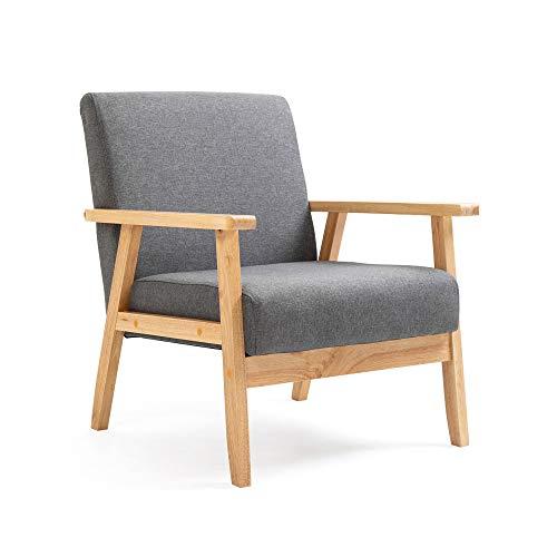 Mingone Gepolsterter Sessel aus Cocktailwannenstuhl Einzelsofa Eleganter Retro-Stuhl Massivholzstruktur für Wohnzimmerempfang Schlafzimmer (grau)