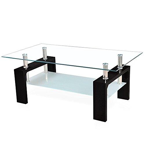 Corium Couchtisch Wohnzimmertisch 100 x 50 x 45 cm Glassplatte Tisch Glastisch Beistelltisch