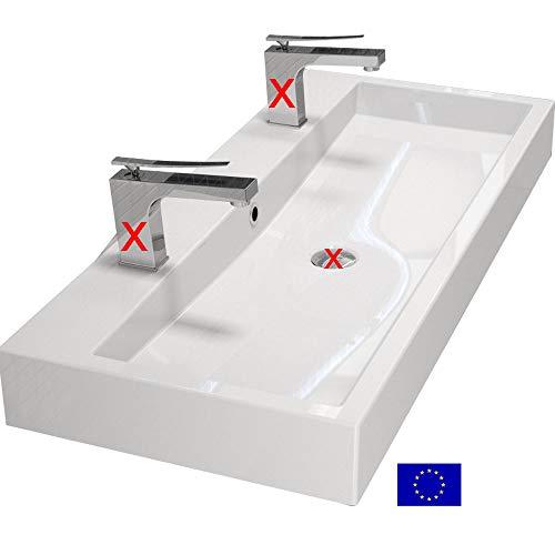 Design Waschbecken 100cm zur Wandmontage oder als Aufsatzwaschbecken mit 2 Armaturlöcher   100x42x10cm   Material: hochwertiges Mineralguss   hochwertig verarbeitet   Qualität MADE IN EU