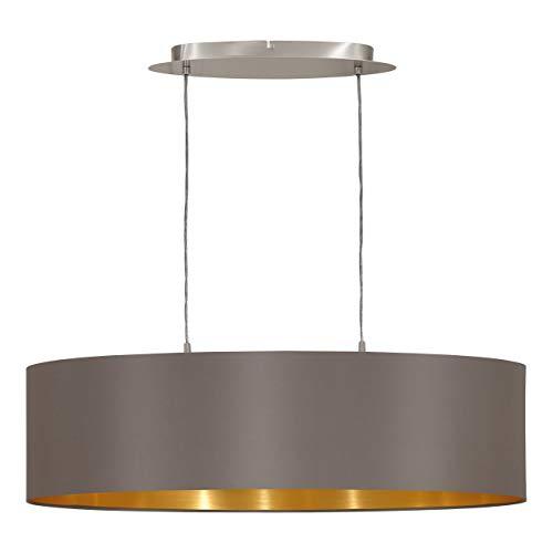 EGLO Hängeleuchte Maserlo Länge 78cm Nickel-Matt Schirm Cappucino Gold Stahl E27, 78 x 22 x 110 cm