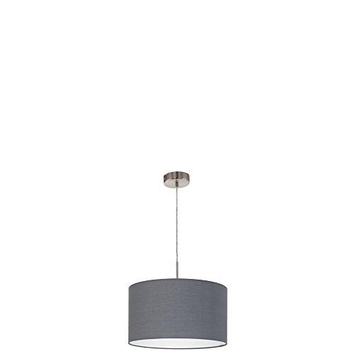 EGLO Hängeleuchte Stahl E27, Nickel-matt/Grau 38 x 38 x 110 cm