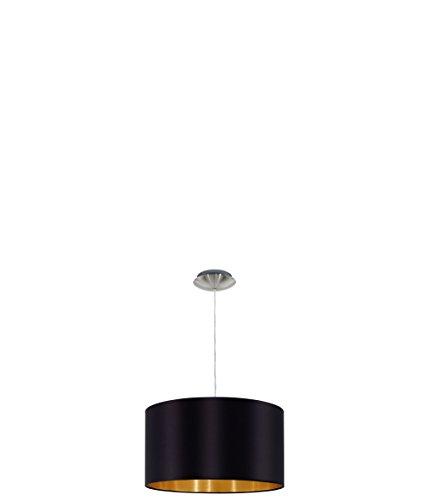 EGLO Hängeleuchte Stahl E27, Nickel-matt/Schwarz/Gold 38 x 38 x 110 cm