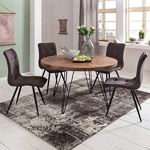 FineBuy Design Esszimmertisch BATI rund Ø 120 x 78 cm Sheesham Massiv-Holz   Landhaus Esstisch braun   Tisch für Esszimmer Küchentisch 4 Personen