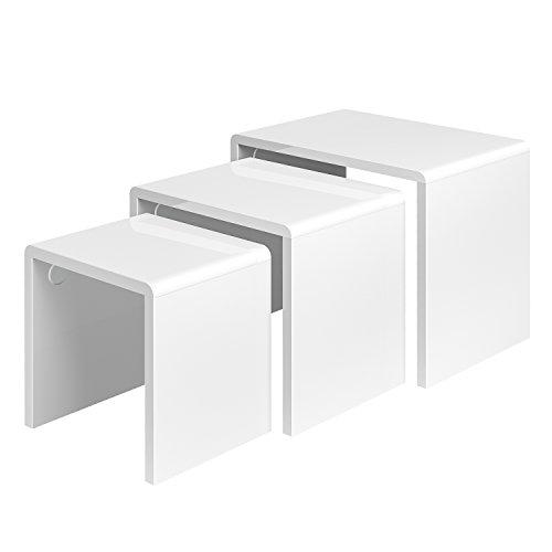 HOMFA Couchtisch 3er-Set Satztisch Beistelltisch weiß hochglanz-lackierter Sofatisch Kaffeetisch Teetisch,30kg-50kg belastbar
