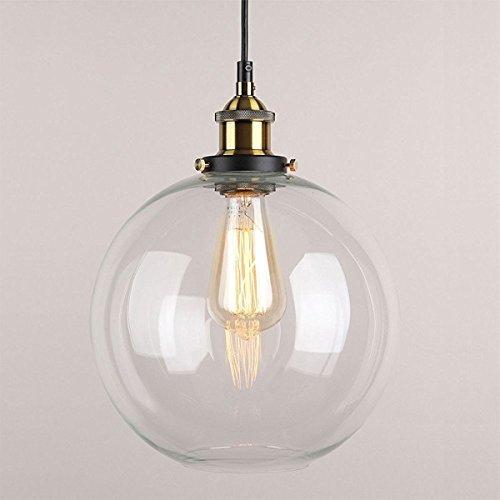 Huahan Haituo Anhänger leicht Vintage industriellen Metall-Finish Klarglas Glaskugel Runde Schatten Loft Pendelleuchte Lampe Retro-leichte Vintage Deckenleuchte