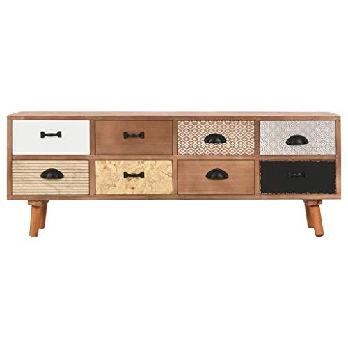 Tidyard Kiefernholz Massiv TV Schrank mit 8 Schubladen Fernsehschrank Lowboard Fernsehtisch Sideboard TV Tisch Board Möbel HiFi-Schrank 120x30x40cm