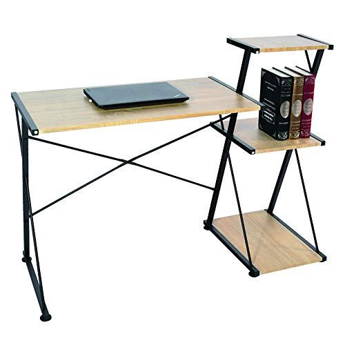 WOLTU® Schreibtisch TS60hei Computertisch Bürotisch Arbeitstisch PC Laptop Tisch, mit 3 Ablagen, Gestell aus Stahl, 118x50x86cm(BxTxH), Holz, Hell Eiche