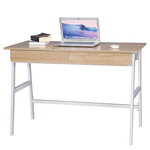 WOLTU® Schreibtisch TS61hei Computertisch Bürotisch Arbeitstisch PC Laptop Tisch, mit 2 Schubladen, Gestell aus Stahl, 110x55x75cm(BxTxH), Holz, Hell Eiche