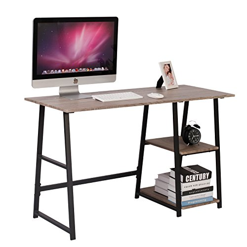 WOLTU® Schreibtisch TSG25 Computertisch Bürotisch Arbeitstisch PC Laptop Tisch, mit 2 Ablagen, aus MDF und Stahl, 120x50x73cm(BxTxH)
