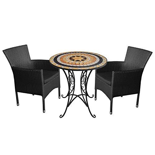 Wohaga 3tlg. Sitzgruppe Gartenmöbel-Set Mosaiktisch Ø70cm + 2X Rattansessel, stapelbar, Polyrattan, inkl. Kissen - Schwarz